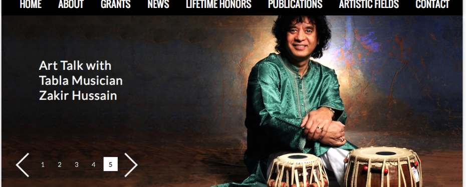 Screenshot of National Endowment for the Arts Website